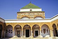 Tunis, Tunisia.  Zawiya of Sidi Kacem Al-Jalizi, 17th-18th. Century, restored 20th. Century.  Sidi Kacem, died 1496, is Tunisia's most famous ceramic artist.