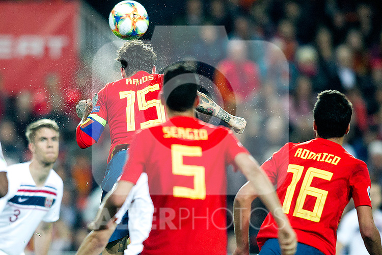 Spain's Sergio Ramos, Spain's Sergio Busquets and Spain's Rodrigo Hernandez  during the qualifying match for Euro 2020 on 23th March, 2019 in Valencia, Spain. (ALTERPHOTOS/Alconada)