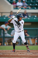 Lakeland Flying Tigers right fielder Jose Azocar (52) at bat during a game against the Fort Myers Miracle on August 7, 2018 at Publix Field at Joker Marchant Stadium in Lakeland, Florida.  Fort Myers defeated Lakeland 5-0.  (Mike Janes/Four Seam Images)