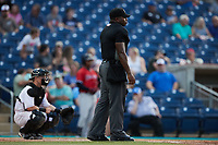 Home plate umpire Matt Blackborow during the game between the Charleston RiverDogs and the Kannapolis Cannon Ballers at Atrium Health Ballpark on June 30, 2021 in Kannapolis, North Carolina. (Brian Westerholt/Four Seam Images)