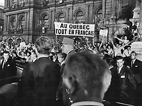 July 1967 FILE -<br /> <br /> Quebec separatists greeted de Gaulle with cheers and banners, outside Montreal city hall<br /> <br /> PHOTO :  Jeff Goode - Toronto Star Archives - AQP