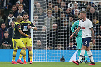 Shane Long of Southampton is congratulated after scoring the first Saints goal during Tottenham Hotspur vs Southampton, Emirates FA Cup Football at Tottenham Hotspur Stadium on 5th February 2020