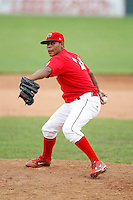 June 21, 2009:  Pitcher LaCurtis Mayes of the Batavia Muckdogs delivers a pitch during a game at Dwyer Stadium in Batavia, NY.  The Muckdogs are the NY-Penn League Short-Season Class-A affiliate of the St. Louis Cardinals.  Photo by:  Mike Janes/Four Seam Images