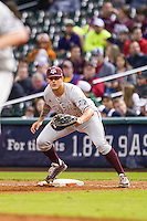 Texas A&M Aggies first baseman Logan Nottebrok (8) on defense during the NCAA baseball game against the Houston Cougars on March 7, 2015 in the Houston College Classic at Minute Maid Park in Houston, Texas. Texas A&M defeated Houston 6-0. (Andrew Woolley/Four Seam Images)