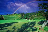 Three golfers at Kapalua Plantation golf course with rainbow