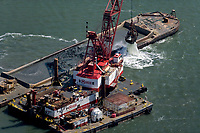 aerial photograph of Matson dredging at the Port of Oakland, California