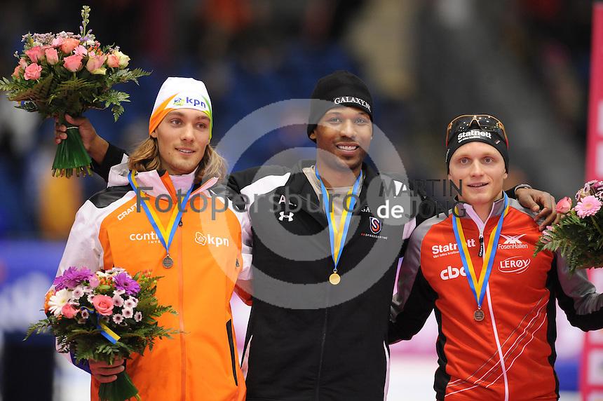 SCHAATSEN: HEERENVEEN: Thialf, Essent ISU World Cup, 02-03-2012, Podium 1500m Men, Kjeld Nuis (NED), Shani Davis (USA), Håvard Bøkko (NOR), ©foto: Martin de Jong