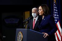 President Joe Biden listens as Vice President Kamala Harris at the Pentagon, in Arlington, Virginia, 10 February 2021.<br /> CAP/MPI/RS<br /> ©RS/MPI/Capital Pictures