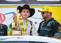 Oct 7, 2018; Ennis, TX, USA; NHRA pro stock driver Tanner Gray celebrates with father Shane Gray after winning the Fall Nationals at the Texas Motorplex. Mandatory Credit: Mark J. Rebilas-USA TODAY Sports