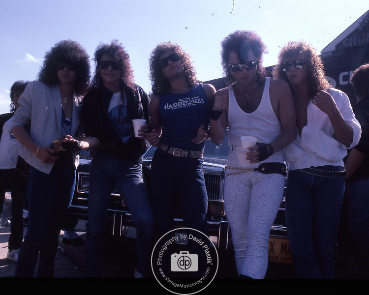Queensryche instore at Agents of Fortune, Massapequa Park, NY. Scott Rockenfield, Chris Degarmo, Geoff Tate, Michael Wilton, Eddie Jackson. May 1985