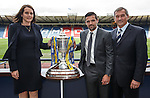 William Hill's Nicola Frampton. Former Rangers striker Nacho Novo and SFA President Campbell Ogilvie at Hampden after making the draw for the third round of the Scottish Cup