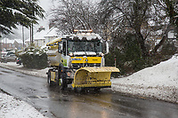 A Gritter Truck<br /> Weather - the Snowfall in High Wycombe, England on 10 December 2017. Photo by Andy Rowland.