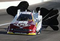 Apr. 6, 2013; Las Vegas, NV, USA: NHRA funny car driver Tim Wilkerson during qualifying for the Summitracing.com Nationals at the Strip at Las Vegas Motor Speedway. Mandatory Credit: Mark J. Rebilas-