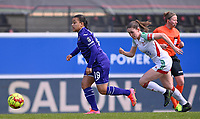 Mariam Abdulai Toloba (19) of Anderlecht pictured with Marie Detruyer (17) of OHL during a female soccer game between Oud Heverlee Leuven and RSC Anderlecht on the 2nd matchday of play off 1 in the 2020 - 2021 season of Belgian Womens Super League , saturday 17 th of April 2021  in Heverlee , Belgium . PHOTO SPORTPIX.BE | SPP | DAVID CATRY