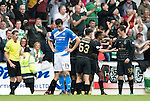 St Johnstone v Celtic…20.08.16..  McDiarmid Park  SPFL<br />A gutted Joe Shaughnessy as Celtic celebrate thie fourth goal<br />Picture by Graeme Hart.<br />Copyright Perthshire Picture Agency<br />Tel: 01738 623350  Mobile: 07990 594431
