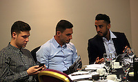 Pictured: Angel Rangel (C) and Neil Taylor (R) Thursday 08 April 2016<br />Re: Zimkids dinner at the Liberty Stadium, Swansea, UK