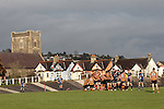 The forwards get set to scrum down at a picturesque Carmarthen Park.<br /> British & Irish Cup<br /> Carmarthen Quins v Leinster A<br /> Carmarthen Park<br /> 25.10.14<br /> ©Steve Pope-SPORTINGWALES