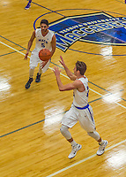 22 November 2015: Yeshiva University Maccabee Forward Joseph Ammar, a Senior from Miami, FL, passes to teammate Shaje Weiss during the second half of play against the Hunter College Hawks at the Max Stern Athletic Center  in New York, NY. The Maccabees defeated the Hawks 81-71 in non-conference play, for their second win of the season. Mandatory Credit: Ed Wolfstein Photo *** RAW (NEF) Image File Available ***