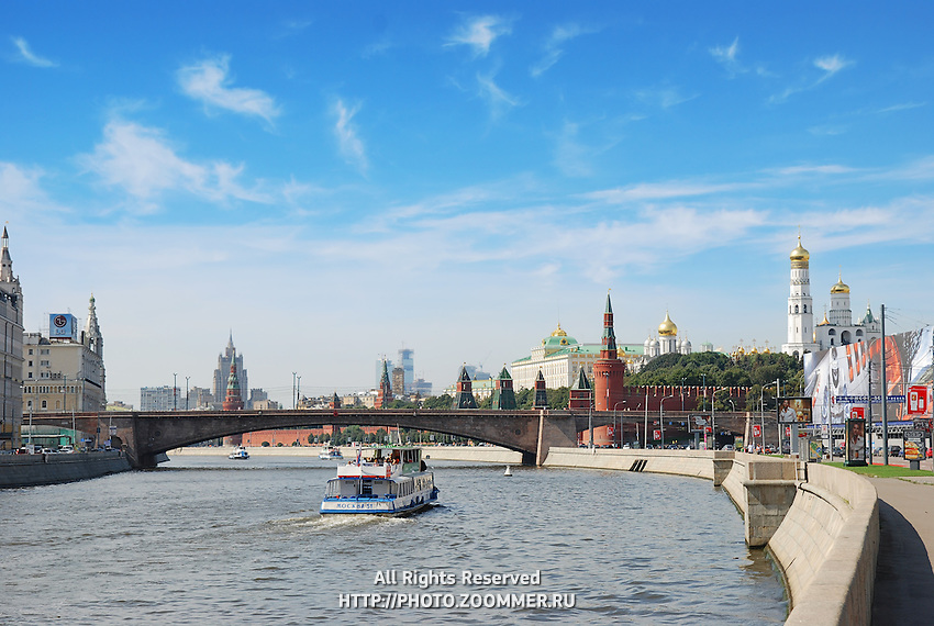 Steamship on Moskva river embankment in Moscow, Russia.