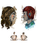 Illustrative image of man and woman with coffee cups representing social networking
