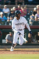 Peoria Javelinas right fielder Buddy Reed (85), of the San Diego Padres organization, starts down the first base line during the Arizona Fall League Championship Game against the Salt River Rafters at Scottsdale Stadium on November 17, 2018 in Scottsdale, Arizona. Peoria defeated Salt River 3-2 in 10 innings. (Zachary Lucy/Four Seam Images)
