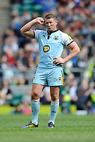 Dylan Hartley of Northampton Saints looks confused during the Aviva Premiership Final between Leicester Tigers and Northampton Saints at Twickenham Stadium on Saturday 25th May 2013 (Photo by Rob Munro)