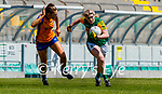 Siofra Ní Chonnaill, Clare in action against Megan O'Connor, Kerry in the Lidl Ladies National Football League Division 2A Round 2 at Austin Stack Park, Tralee on Sunday.