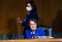 """United States Senator Dianne Feinstein (Democrat of California), Ranking Member, US Senate Judiciary Committee, bottom, and United States Senator Kamala Harris (Democrat of California), top, are seen during the US Senate Judiciary Committee hearing titled """"Examining Best Practices for Incarceration and Detention During COVID-19,"""" in Dirksen Building in Washington, D.C. on Tuesday, June 2, 2020.<br /> Credit: Tom Williams / Pool via CNP/AdMedia"""