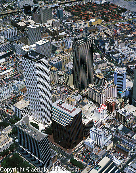 aerial photograph of the Hancock Whitney Center, Capital One tower and vicinity, downtown New Orleans, Louisiana