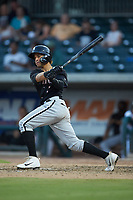 Ramon Beltre (1) of the Kannapolis Intimidators follows through on his swing against the Augusta GreenJackets at SRG Park on July 6, 2019 in North Augusta, South Carolina. The Intimidators defeated the GreenJackets 9-5. (Brian Westerholt/Four Seam Images)