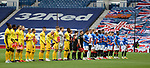25.10.2020 Rangers v Livingston: Both teams line up at the start to promote Show Racism the Red Card