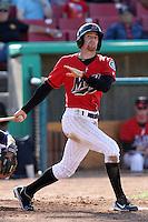 Brad Miller #13 of the High Desert Mavericks bats against the Stockton Ports at Stater Bros. Stadium on May 27, 2012 in Adelanto,California. High Desert defeated Stockton 6-5.(Larry Goren/Four Seam Images)