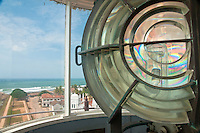 Lantern lens of Galle Lighthouse overlooks the old colonial fortress town of Galle, Sri Lanka.