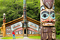 North America;USA;Alaska;Southeast;Ketchikan;A man studies the clan house and totem poles at Totem Bight State Historic Park in Ketchikan.MR