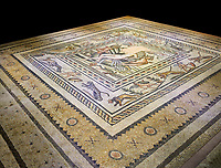 Roman mosaics - Birth of Aphrodite (Venus) Mosaic.  Poseidon Villa Ancient Zeugama, 2nd - 3rd century AD . Zeugma Mosaic Museum, Gaziantep, Turkey.   Against a black background.