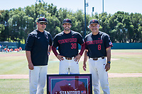 STANFORD, CA - MAY 29: Senior Zach Grech, David Esquer, Thomas Eager before a game between Oregon State University and Stanford Baseball at Sunken Diamond on May 29, 2021 in Stanford, California.