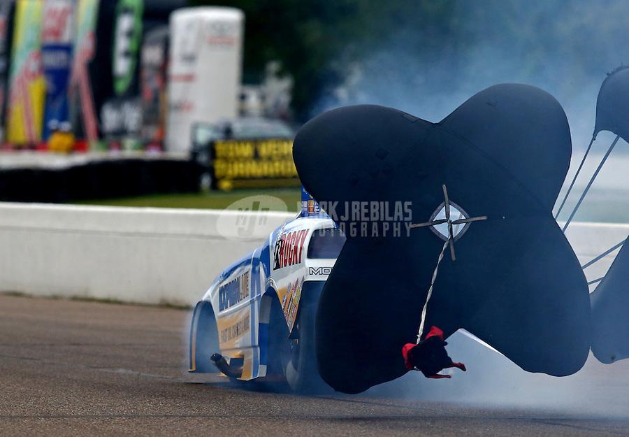 Aug 17, 2014; Brainerd, MN, USA; NHRA funny car driver Matt Hagan during the Lucas Oil Nationals at Brainerd International Raceway. Mandatory Credit: Mark J. Rebilas-