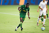 CARSON, CA - OCTOBER 07: Larrys Mabiala #33 of the Portland Timbers passes off the ball during a game between Portland Timbers and Los Angeles Galaxy at Dignity Heath Sports Park on October 07, 2020 in Carson, California.