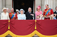 Camilla Duchess of Cornwall, Prince Charles, Queen, Prince Phillip, Catherine Duchess of Cambridge, Princess Charlotte, Prince George, Prince William<br /> on the balcony of Buckingham Palace during Trooping the Colour on The Mall, London. <br /> <br /> <br /> ©Ash Knotek  D3283  17/06/2017