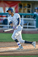 Pedro Gonzalez (22) of the Grand Junction Rockies at bat against the Orem Owlz in Pioneer League action at Home of the Owlz on July 7, 2016 in Orem, Utah. The Owlz defeated the Rockies 15-3. (Stephen Smith/Four Seam Images)