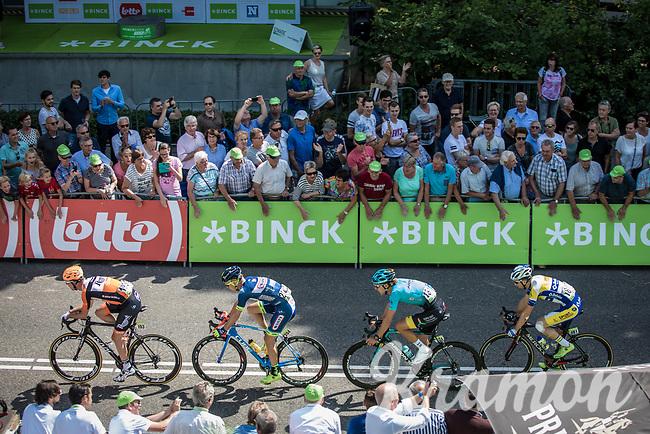 First passage  with break away group at the finish line.. 2 laps to go! <br /> Piet Allegaert (BEL/Sport Vlaanderen-Baloise), Laurens de Vreese (BEL/Astana), Elmar Reinders (NED/Team Roompot) & Mark Mc Nally (GBR/Wanty-Groupe Gobert) form the daylong breakaway group<br /> <br /> Binckbank Tour 2017 (UCI World Tour)<br /> Stage 1: Breda (NL) > Venray (NL) 169,8km