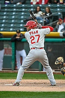 Tommy Pham (27) of the Memphis Redbirds at bat against the Salt Lake Bees in Pacific Coast League action at Smith's Ballpark on May 24, 2016 in Salt Lake City, Utah. The Bees defeated the Redbirds 7-5. (Stephen Smith/Four Seam Images)