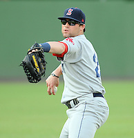 Outfielder Bryce Brentz (23) of the Salem Red Sox, Carolina League affiliate of the Boston Red Sox, prior to a game against the Potomac Nationals on June 16, 2011, at Pfitzner Stadium in Woodbridge, Va. Brentz was a first-round sandwich pick in the 2010 First-Year Player Draft. (Tom Priddy/Four Seam Images)