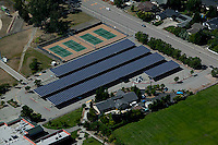 aerial photograph solar panel car park roof Petaluma, Sonoma county, California