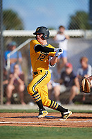 Alex Milazzo during the WWBA World Championship at the Roger Dean Complex on October 18, 2018 in Jupiter, Florida.  Alex Milazzo is a catcher from Zachary, Louisiana who attends Zachary High School and is committed to Louisiana State.  (Mike Janes/Four Seam Images)