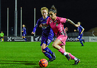 Charlotte Tison (20) of Anderlecht pictured fighting for the ball with Ylenia Carabott (7) of Sporting Charleroi during a female soccer game between RSC Anderlecht Dames and Sporting Charleroi on the 13 th matchday of the 2020 - 2021 season of Belgian Womens Super League , friday 5 th of February 2021  in Tubize , Belgium . PHOTO SPORTPIX.BE | SPP | DAVID CATRY