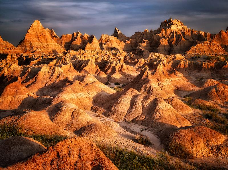 Eroded rock formations in Badlands National Park, South Dakota.