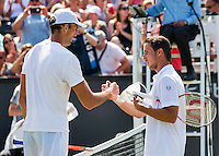 Den Bosch, Netherlands, 09 June, 2016, Tennis, Ricoh Open, Igor Sijsling (NED) (R) congratulates Ivo Karlovic (CRO) with his win<br /> Photo: Henk Koster/tennisimages.com