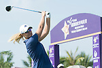 Anna Nordqvist tees off the 1st hole during the World Celebrity Pro-Am 2016 Mission Hills China Golf Tournament on 22 October 2016, in Haikou, China. Photo by Marcio Machado / Power Sport Images