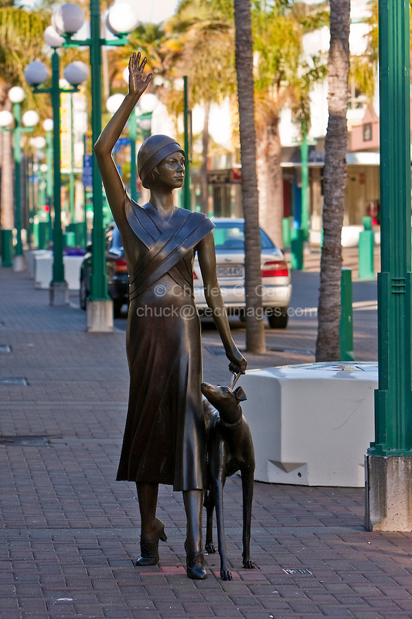 """Public Street Sculpture: """"A Wave in Time: Stella and Raven"""", by Mark Whyte, dedicated February 12, 2010.  Napier, north island, New Zealand, Pedestrian Walkway Street."""